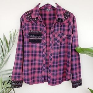 Miss Me   Embellished Western Plaid Button Shirt S